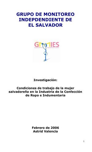 Condiciones de trabajo de la mujer salvadoreña en la industria de la confección de ropa e indumentaria