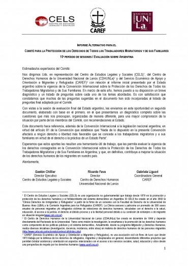 INFORME ALTERNATIVO COMITÉ DE PROTECCIÓN DE DERECHOS DE TRABAJADORES MIGRANTES NACIONES UNIDAS