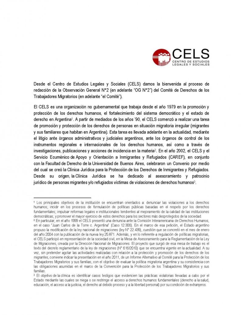 OBSERVACIÓN GENERAL COMITÉ DE DERECHOS DE TRABAJADORES MIGRANTES