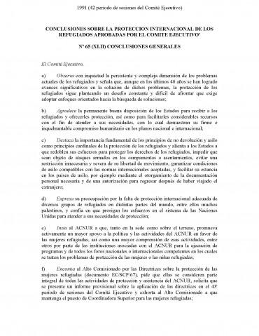 Conclusiones sobre la Protección Internacional de los Refugiados Aprobados por el Comité Ejecutivo