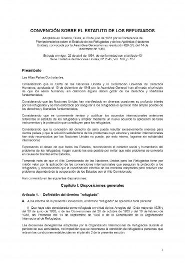 Convención sobre el Estatuto de los Refugiados