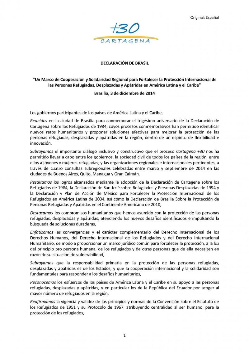 Declaración de Brasil Cartagena +30