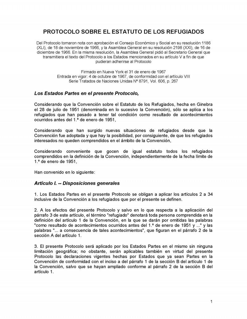 Protocolo 1967 – Sobre el estatuto de los refugiados
