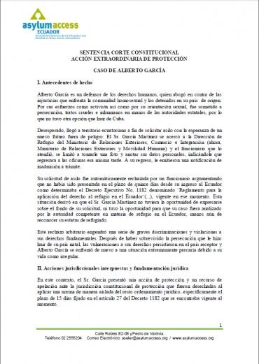 Sentencia Corte Constitucional de Ecuador – Acción Extraordinaria de Protección en casos de refugio