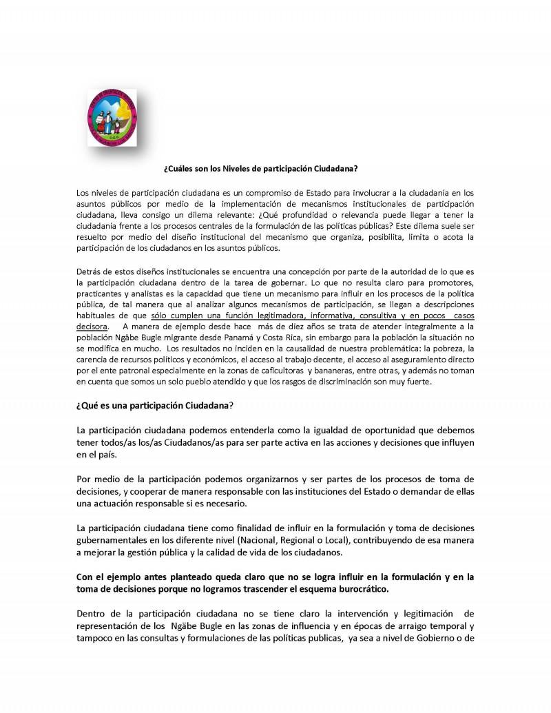Pronunciamiento sobre niveles de participación ciudadana de pueblos originarios panameños residentes en Costa Rica