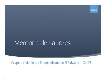 Memoria de Labores – GMIES 2014