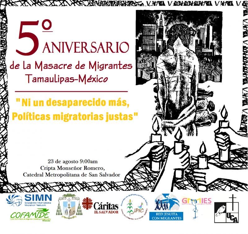Conmemoración del 5° aniversario de la masacre de San Fernando Tamulipas, México.