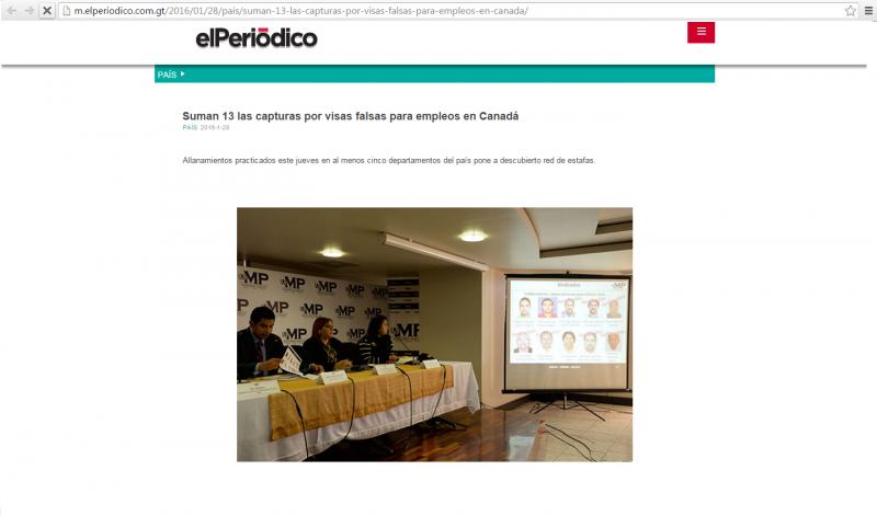 Noticia sobre Estafas y Fraudes en reclutamiento y contratación en Programas de trabajos temporales hacia el extranjero en Guatemala