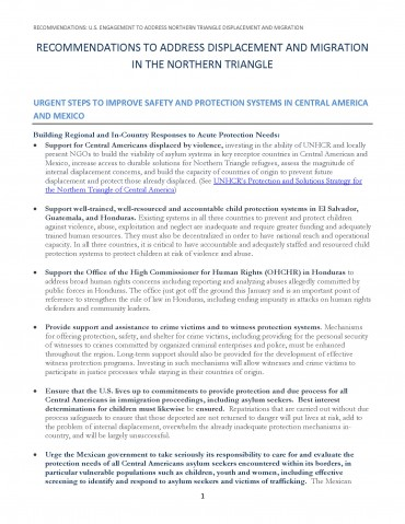 2016 – Recommendations -U S  Engagement to Address Northern Triangle Displacement and Migration FINAL – 2/ 23/16