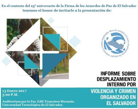 Presentación del informe anual 2016 sobre desplazamiento interno por violencia y crimen organizado