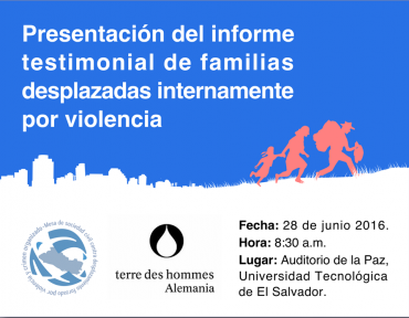 Presentación de informe testimonial sobre familias desplazadas internamente por violencia.